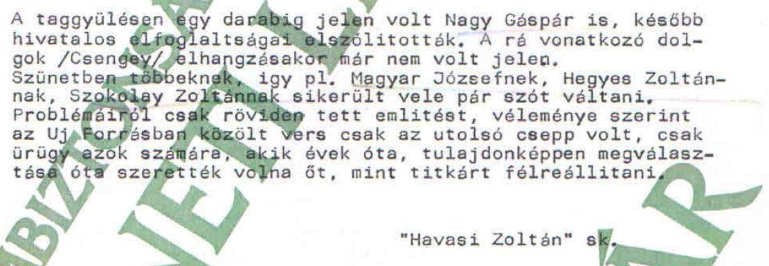 """Részlet """"Havasi"""" jelentéséből / Forrás: ÁBTL"""