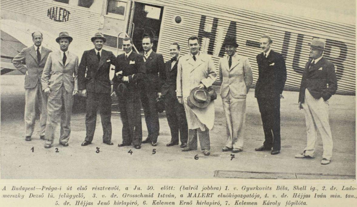 Már öltönyben. Héjjas Iván és Héjjas Jenő a MALÉRT vezetőségében / Fotó: Magyar Szárnyak, 1938, Arcanum.hu