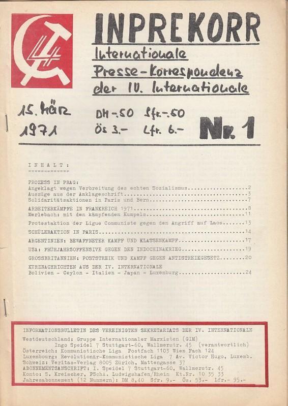 Az Inprekorr első száma / Fotó: Pictures.abebooks.com