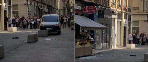 A támadó egy pékség előtt hagyta a csavarokkal megpakolt robbanószerkezetet Fotó: Twitter