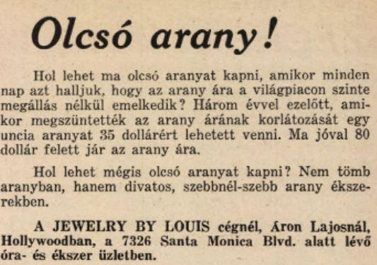 Olcsó arany! Áron Lajosnál! / Forrás: Arcanum.hu