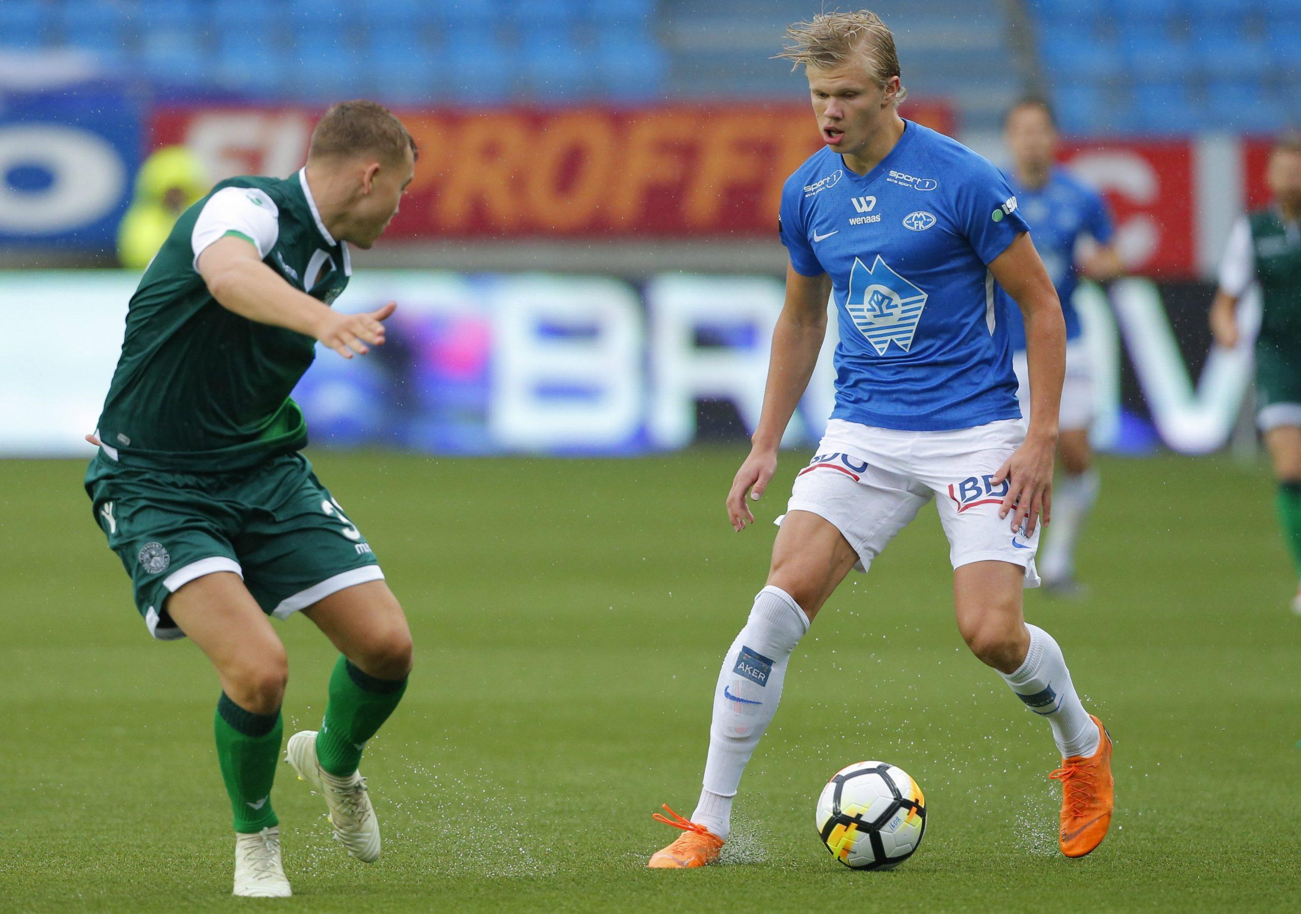 Erling Braut Haaland, még mint a norvég Molde FK játékosa / Fotó: MTI/EPA