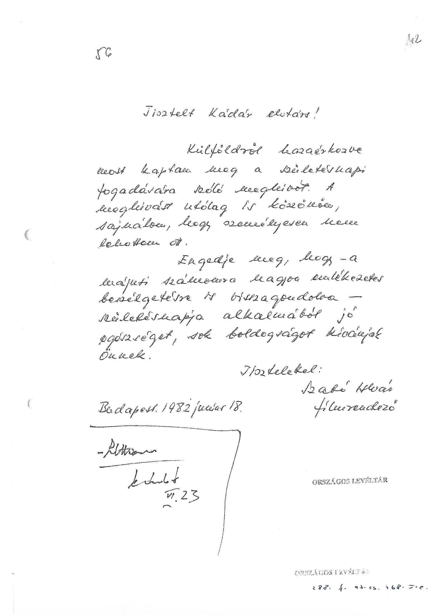 Szabó István levele / Forrás: MOL