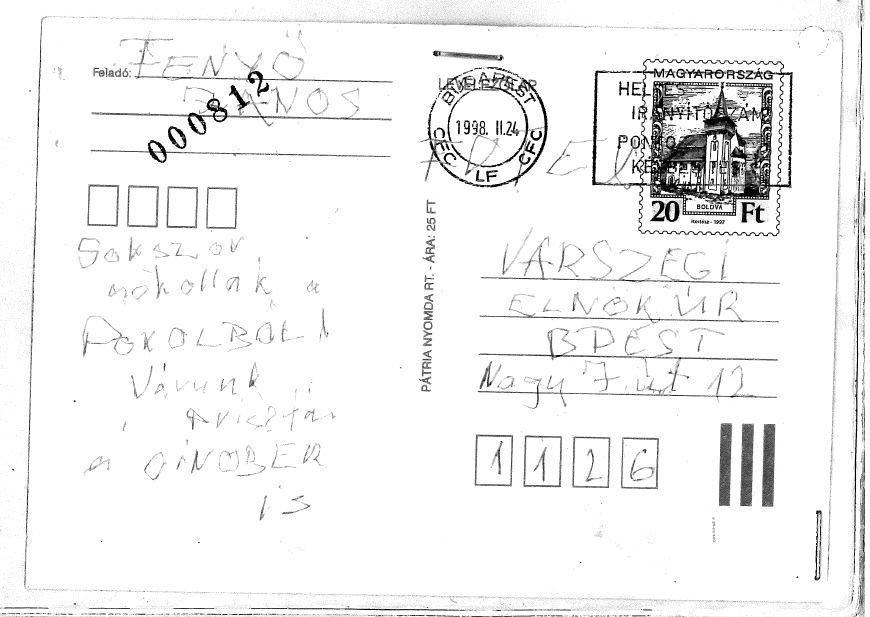 A Várszeginek küldött levél / Forrás: PS