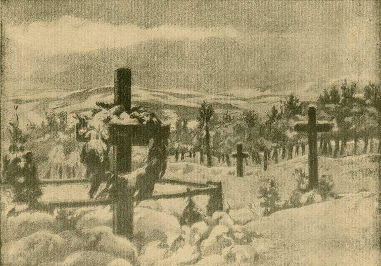 Limanova. Ahol Muhr ezredes elesett és ahol a Nádasdy-huszárok pihennek. Barta Ernõ harctéri rajza / Forrás: MEK.oszk.hu