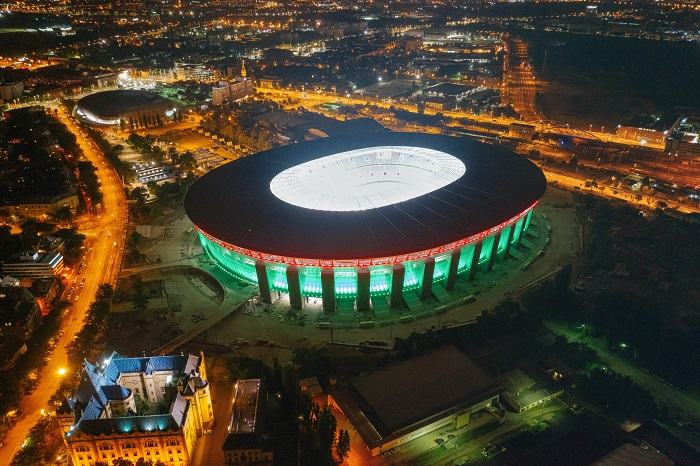 A vadonatúj Puskás Aréna a labdarúgó Európa-bajnokság egyik leggyönyörűbb helyszíne lesz.<br /> MTI/KKBK