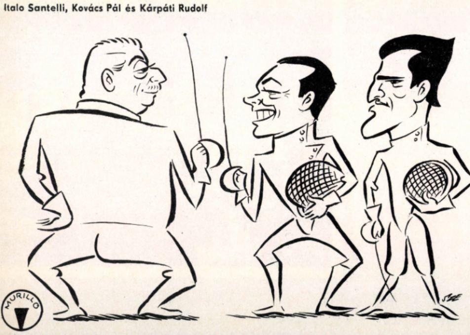Mester és tanítványai, Szepes Béla karikatúrája a Képes Sportban / Forrás: Arcanum.hu