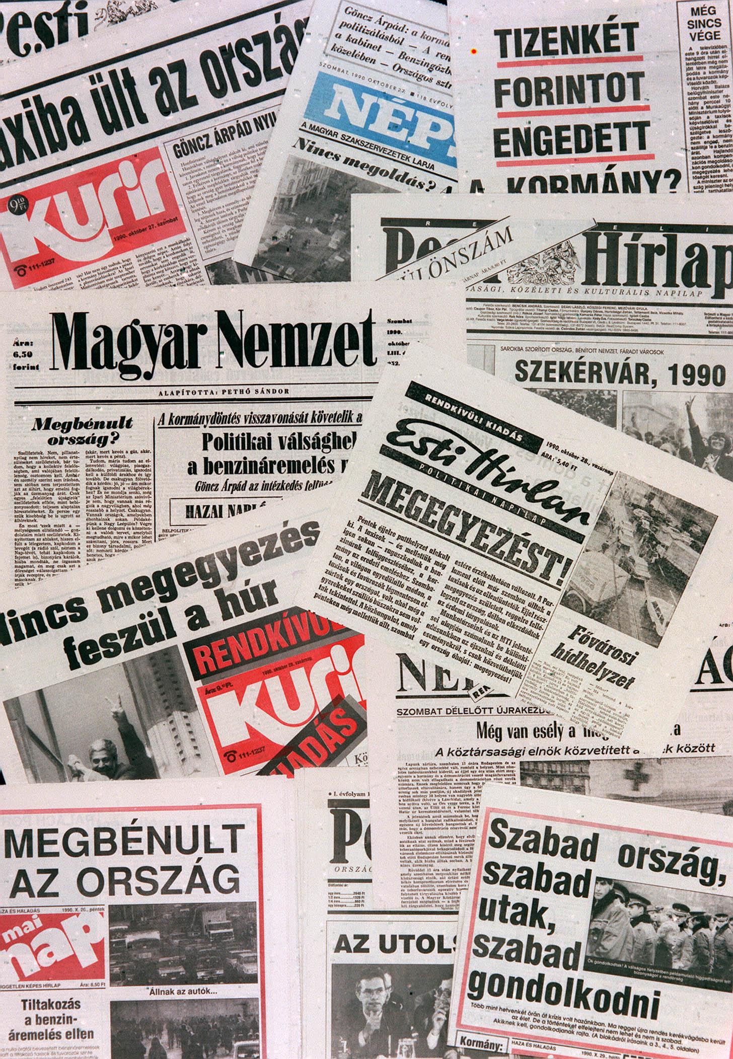 Esélytelen harc, címlapok a Taxisblokád idején / Fotó: MTI