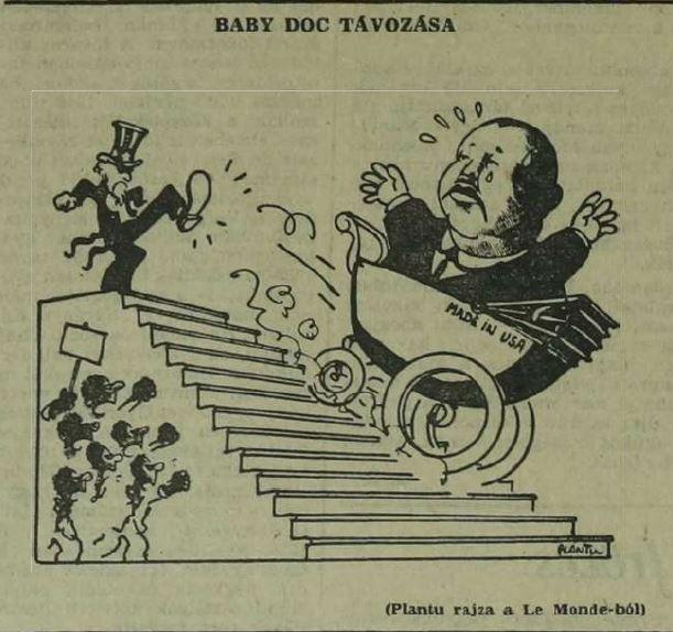 Baby Doc távozása / Forrás: Magyar Nemzet, 1985, Arcanum.hu