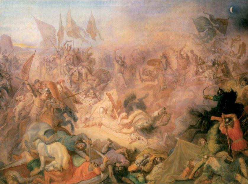 Id. Wilhelm Lindenschmit: Luitpold bajor herceg halála a pozsonyi csatában, 907-ben / Forrás: Mek.oszk.hu