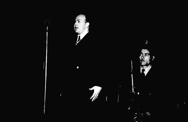 Csornoky Viktor pere tárgyalásán, kivégzése előtt 1948 decemberében Budapesten. Forrás: nol.hu
