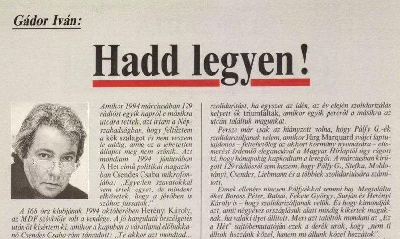Gádor cikke / Forrás: Arcanum.hu