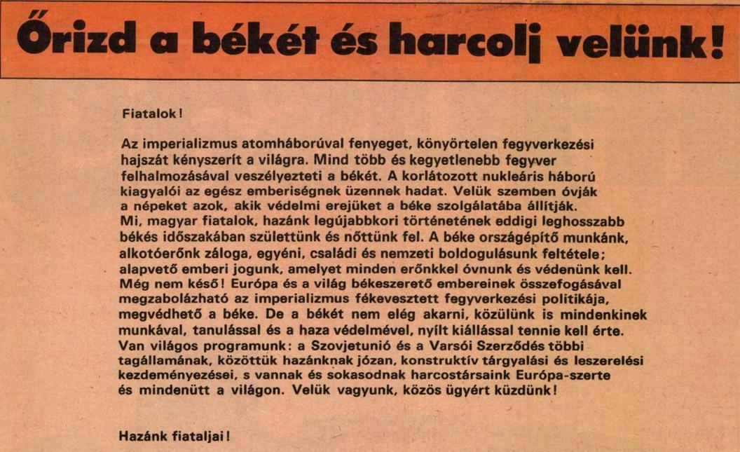 Béke, béke, béke! /Forrás: Magyar Ifjúság, arcadum.hu