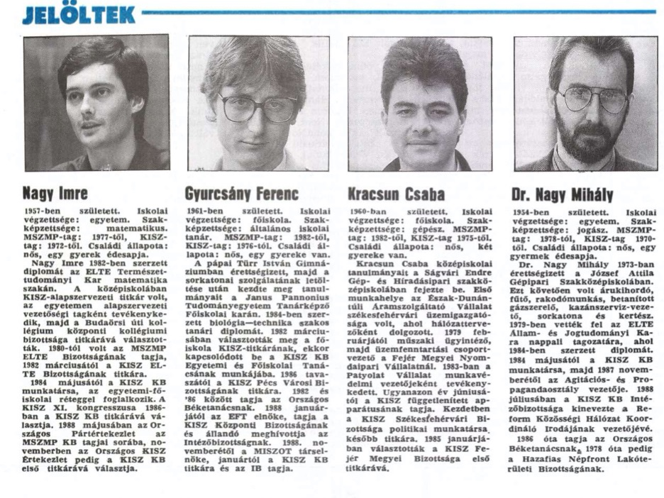 Szupercsapat a KISZ újjáalakulási kongresszusáról. Fotó egy korabeli cikkből / Forrás: Arcanum.hu