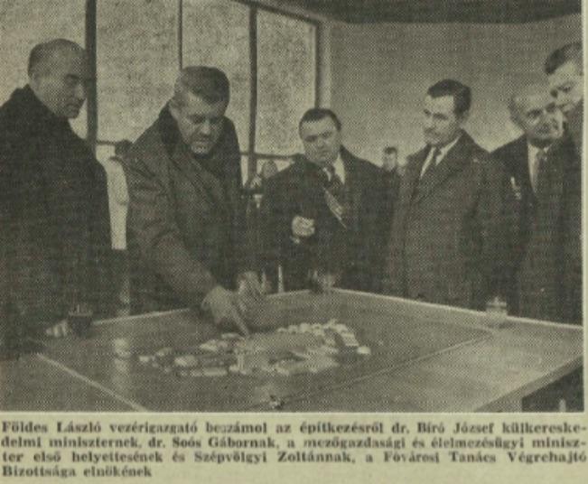 Elvtársak intézkednek az új Budapesti Nemzetközi Vásárközpontról, Világgazdaság, 1974 / Forrás: Arcanum.hu