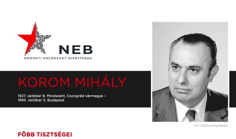 Korom Mihály adatlapja a NEB.hu-n