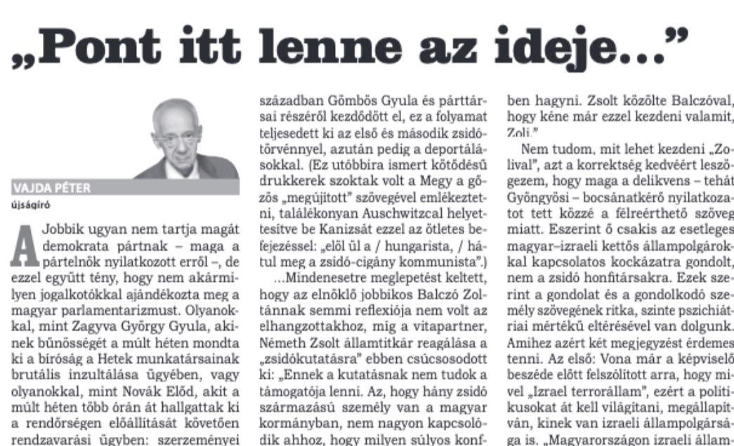 Vajda cikke a Népszavában / Forrás: Arcanum.hu