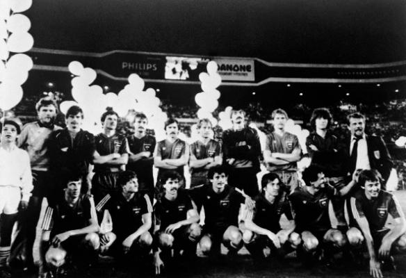 A Videoton UEFA Kupa-döntős szereplése az utolsó magyar kupadiadal volt a nemzetközi porondon. A csapatkép a madridi, megnyert döntő után készült a Santiago Bernabeu Stadionban. Fotó: MTI/Németh Ferenc