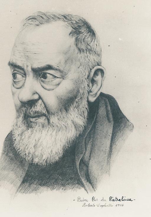 Francesco Forgione, azaz Pio Atya portréja 1966-ból. Alkotó: Roberto Dughetti. Forrás: Wikipédia