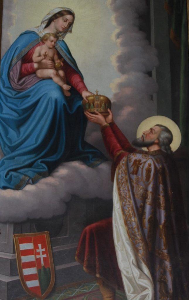 Szent István országfelajánlása a Ferenciek terén lévő templom freskóján. Fotó: wikipedia