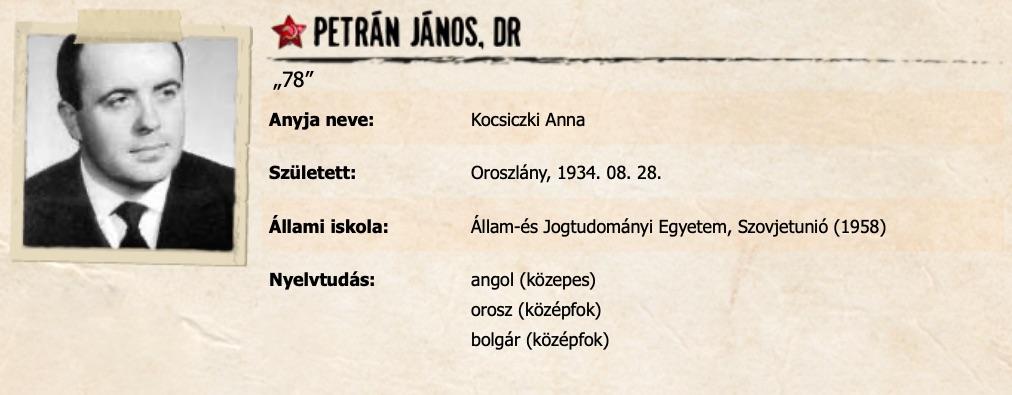Petrán János adatlapja / Forrás: Szigoruantitkos.hu