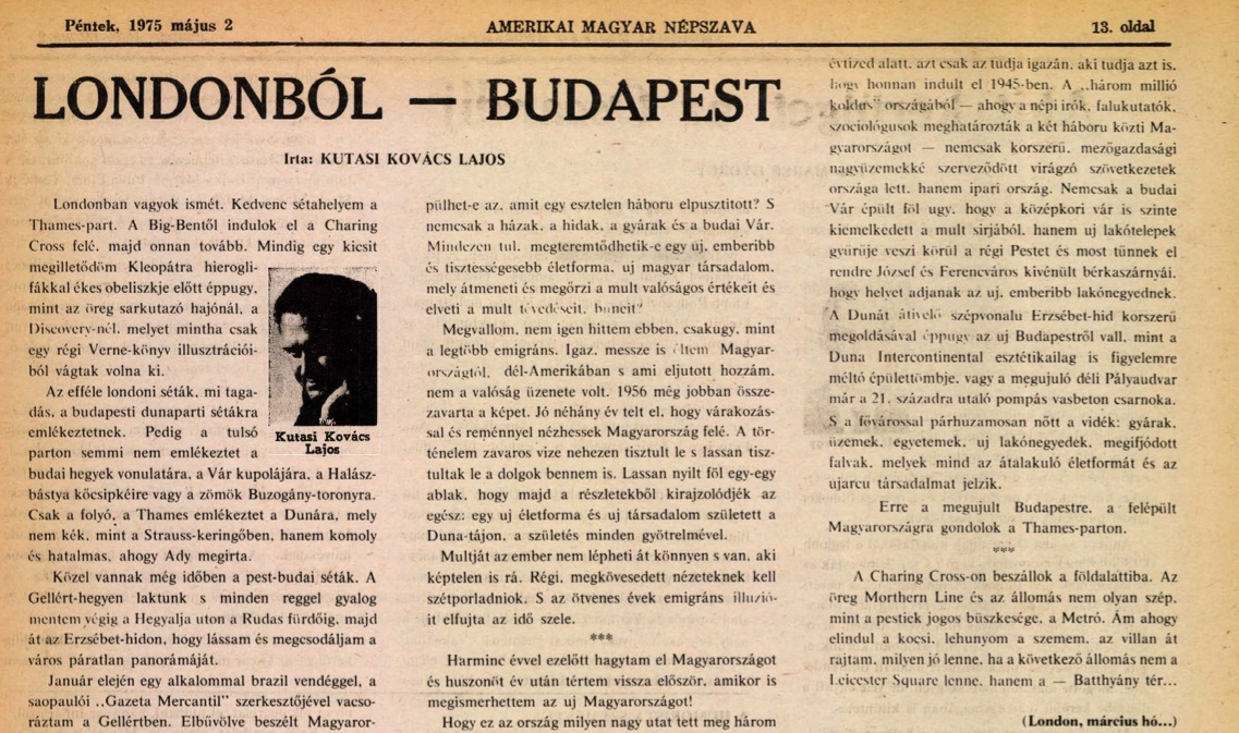 Kutasi Kovács Lajos egyik megrendelt PR-cikke / Forrás: Amerikai M. N.