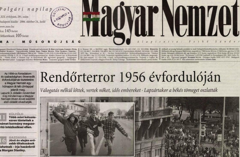 A Magyar Nemzet október 24-i címlapja / Forrás: Arcanum.hu