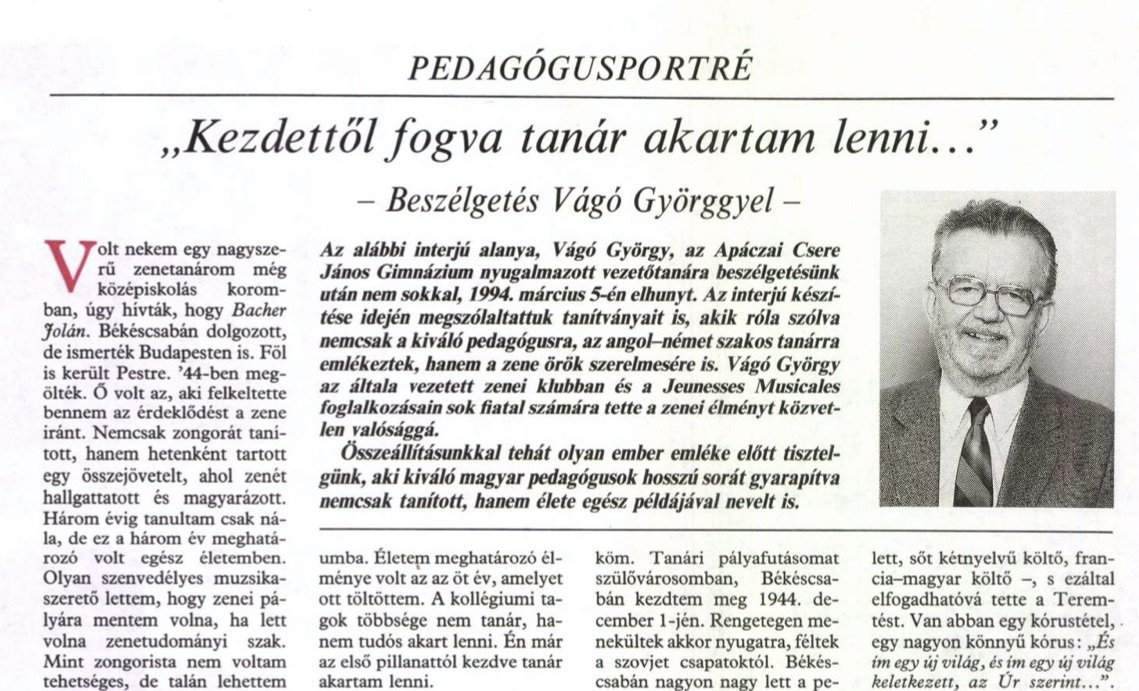 Interjú Vágó Györggyel / Forrás: Arcanum.hu