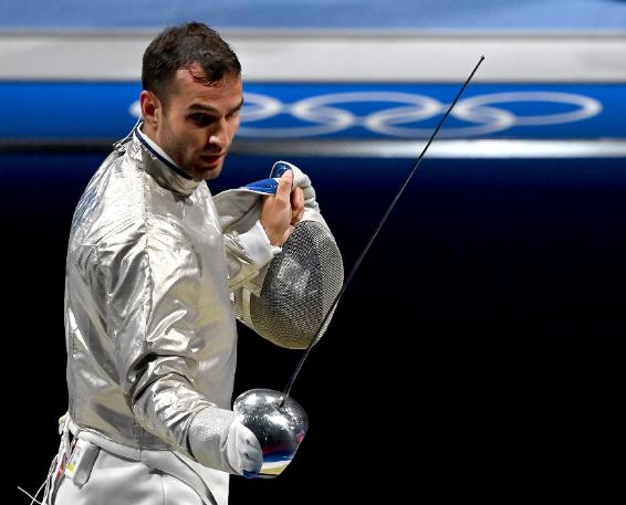 Szilágyi Áron kétszeres olimpiai bajnok vívónk Tokióban is biztosan pontszerző helyen végez.<br /> Fotó: MTI/Illyés Tibor