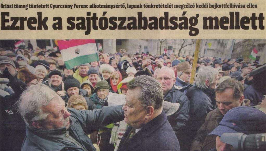Tüntetés a Hírlap mellett. Az újság címlapja / Forrás: Arcanum.hu