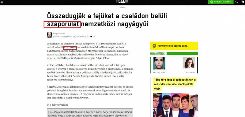 Minősíthetetlen módon ír a magyar családokról a 444 - PestiSrácok