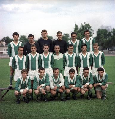 A Ferencváros 1962/63-as bajnokcsapata. Az alsó sorban, balról a második Albert Flórián. Fotó: MTI/Petrovits László