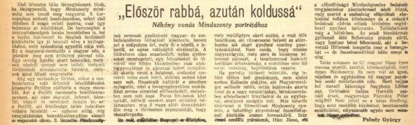 Védhetetlen cikk / Forrás: Arcanum.hu (Népszava)