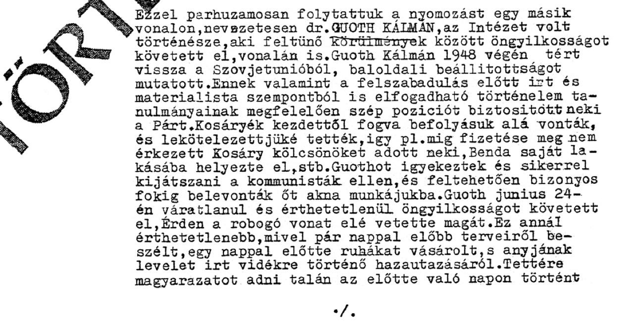 A vonatkozó jelentés első része / Forrás: Hamvasintezet.hu